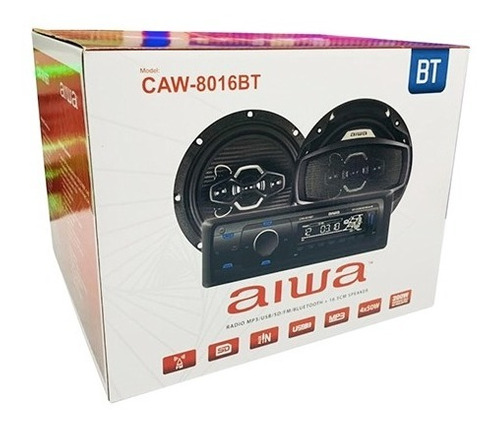 radio auto aiwa + parlantes mp3 usb sd bluetooth caw-8016bt