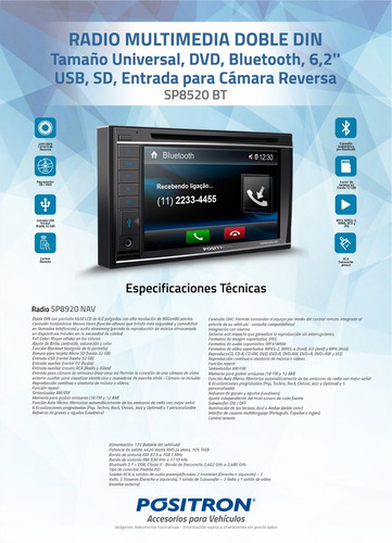 radio auto multimedia pósitron sp8520bt 6'' dvd usb bt sd