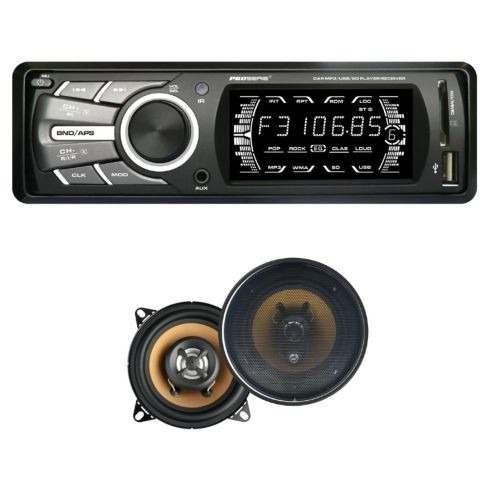 radio carro sonido usb mp3 aux 240w 4salida+2parlantes+contr