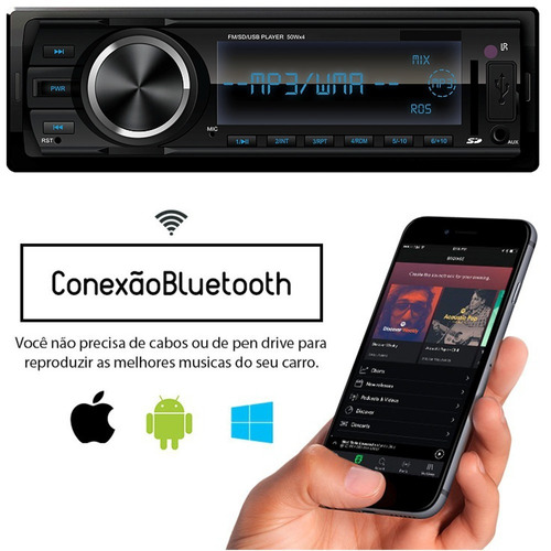 rádio carro toca mp3 usb aux bluetooth usb spotify palio