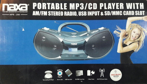 radio cd / mp3 portatil player naxa nuevo de paquete