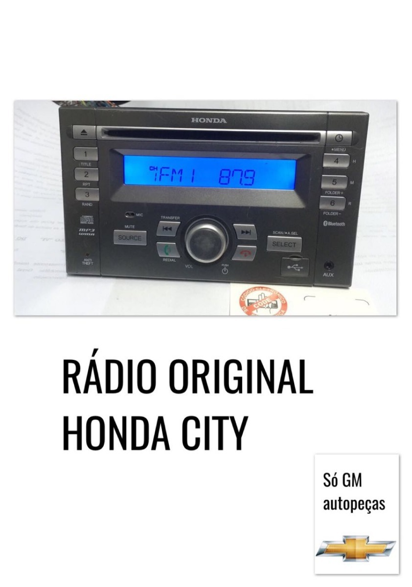 Radio Cd Original Honda New City,fit C/ Cartão Code Riscado. Carregando  Zoom.
