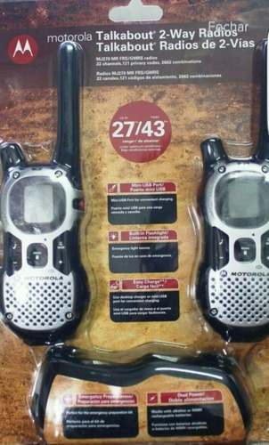 radio comunicador 25km talkabout walk talk motorola mj270 ur