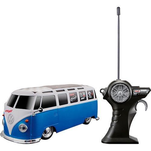rádio control 1:24 volkswagen van samba azul - maisto