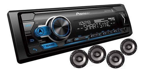 radio de auto pioneer bluetooth usb rca am/fm + 4 altavoces