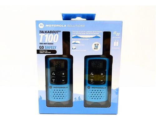 radio de comunicacion motorola t100 walkie talkie 2 unidades