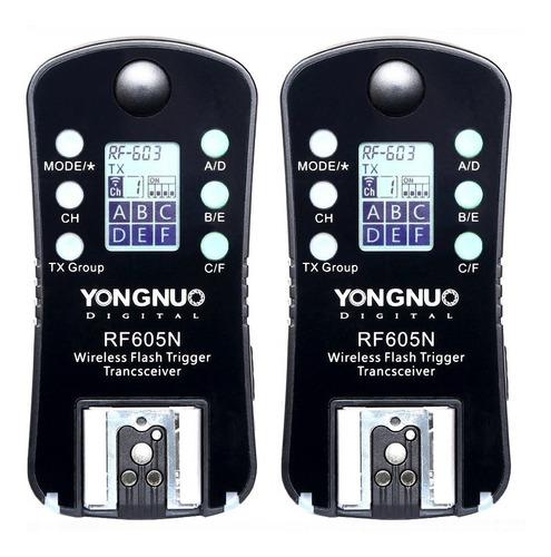 radio disparador inalámbrico yongnuo rf605  nikon canon /par  / garantia / factura a y b / envio gra