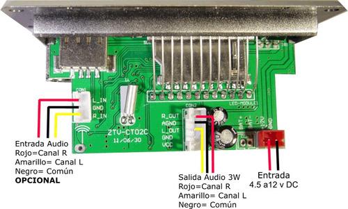 radio fm, amplificador 3 w x canal, con decodificador mp3