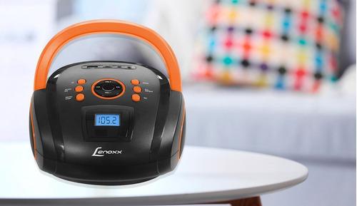 radio fm estereo preto/laranja mp3/usb/micro sd/entrada aux