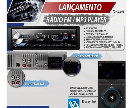 rádio fm mp3 usb sd bluetooth auxiliar p2 4 saídas rca