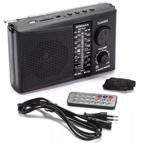 rádio fm portátil recarregável am usb sd controle remoto nf