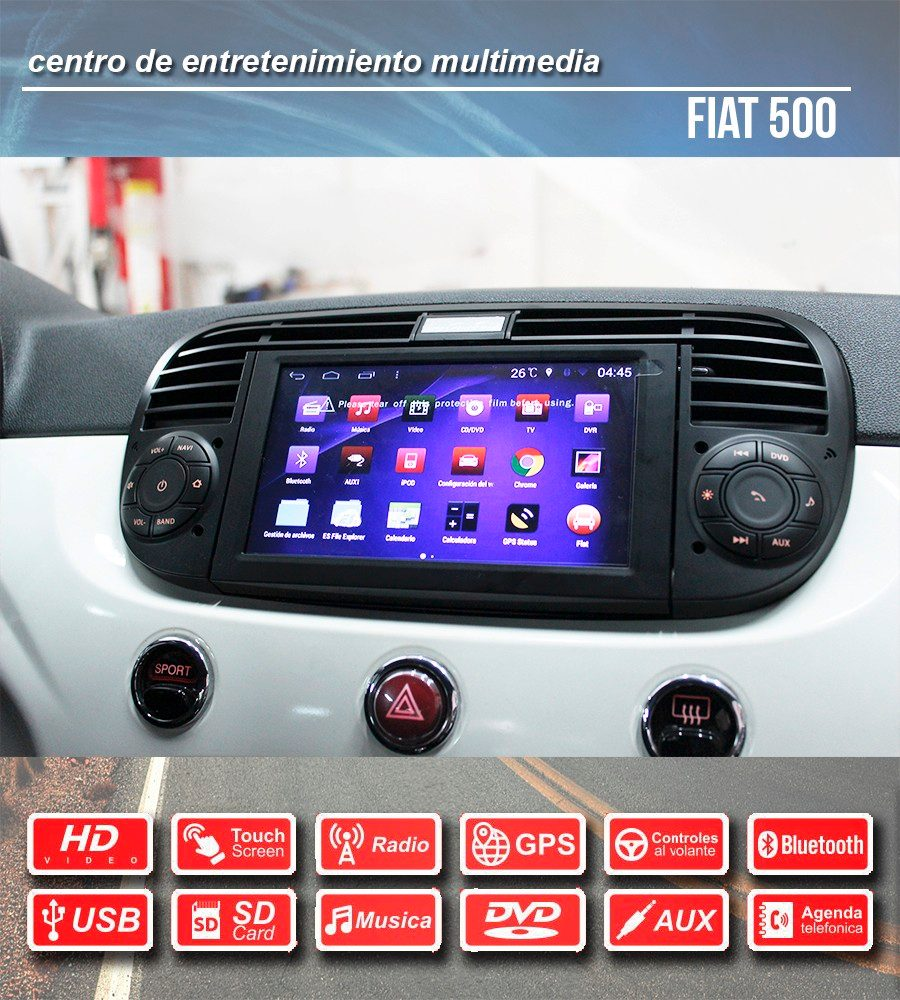 radio gps para fiat 500 android en mercado libre. Black Bedroom Furniture Sets. Home Design Ideas