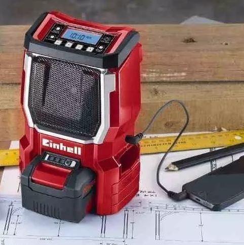 radio inalambrica einhell te-cr 18v solo auxiliar mp3 am fm