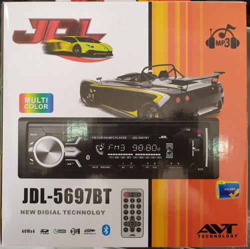 radio jdl 5697bt usb sd fm bluetooth, frontal desmontable