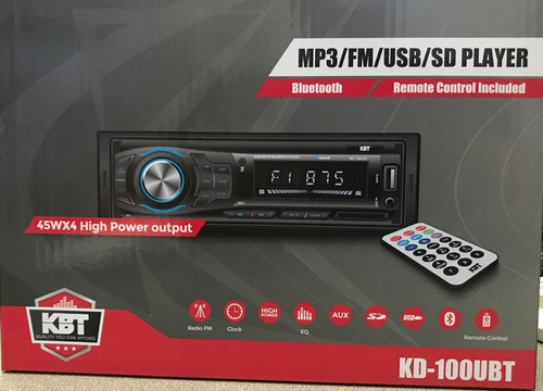 radio kbt kd-100ubt bluetooth/mp3/usb/sd/control,playsound