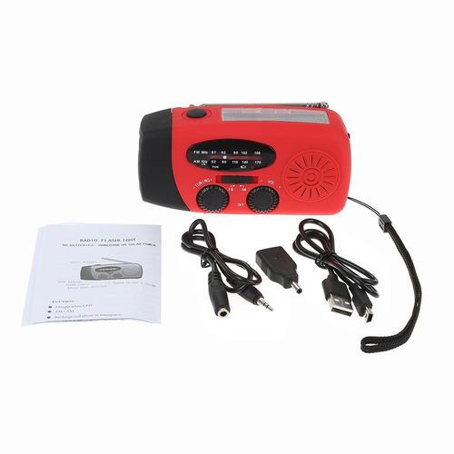 radio linterna de emergencia con manivela + panel solar mas+