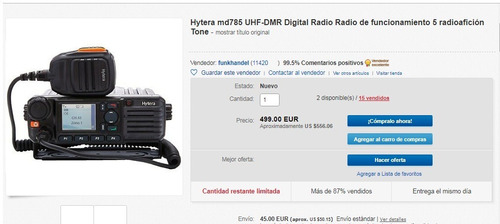 radio movil uhf 2 hytera md785 digital dmr no mototrbo