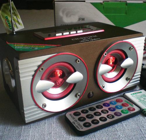 radio mp3 usb contrl remoto corriente y recargable y a pilas