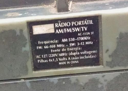 radio nks ac-115n 3 faixas am/fm/sw/tv para desmanche
