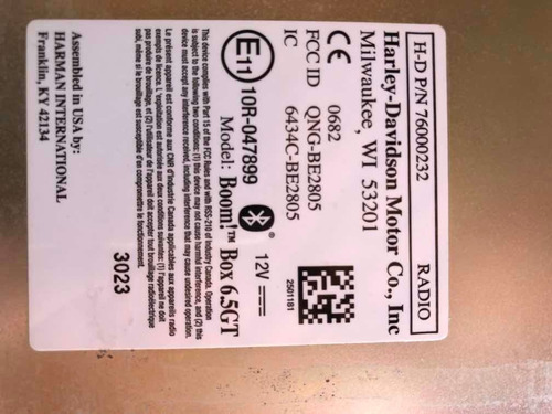 rádio painel boom box 6.5 gt harley electra glide2014.