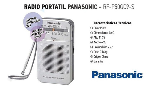 radio panasonic rf-p50d am fm parlante auricular mono pocket