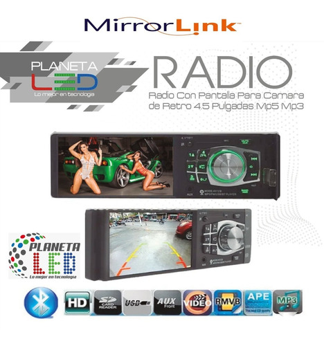 radio pantalla + cámara de retro 4.5 pulgadas mp5 mp3 blueto