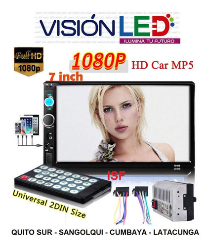 radio pantalla doble din touch bluetoth mp5 usb fm aux sd