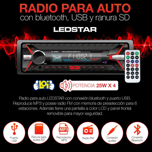 radio para auto ledstar con