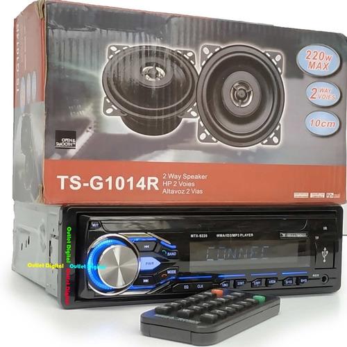 radio para carro bluetooth usb + 2 parlantes
