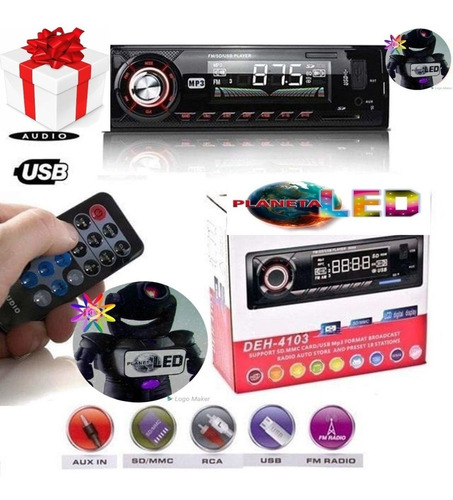 radio para carro con bluetooh integrado con usb sd aux fm...