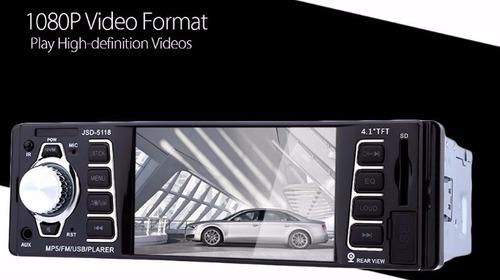 radio para carro usb mp5 aux bluetooth soporta cam display 4