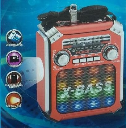 radio parlante fm am bluetooth iluminacion recargable usb sd