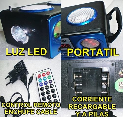 radio parlante mp3 bluetoo remoto pilas corriente recargable