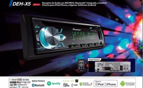 radio pioneer deh-x50bt ,bluetooth,usb,aux,cd,multi color