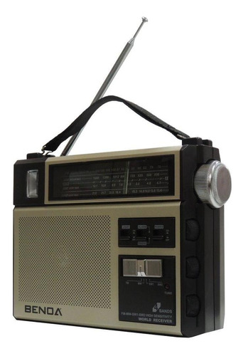 rádio portátil benoá 4 bandas alarme fm lanterna