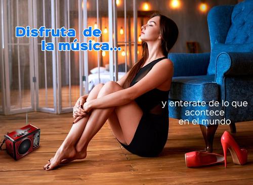 radio recargable am fm usb sd audifonos estaciones del mundo