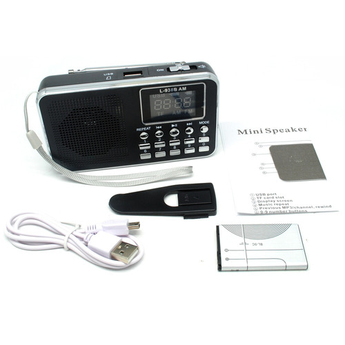 rádio receptor portátil l-938 digital fm mp3 player preto