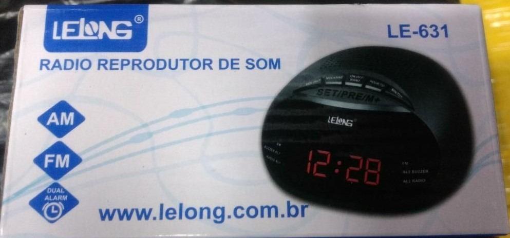 4cc5c5d5a61 Rádio-relógio Alarme Reprodutor De Som Le-631 Am fm Led Aaa - R  65 ...