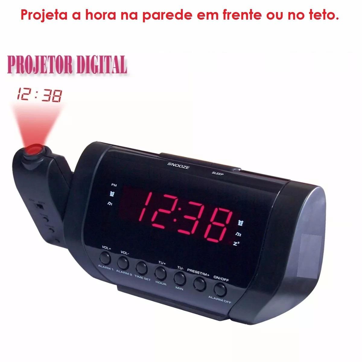 07d9503b935 Rádio Relógio Am fm Projetor Digital Hora Despertador Bivolt - R  89 ...