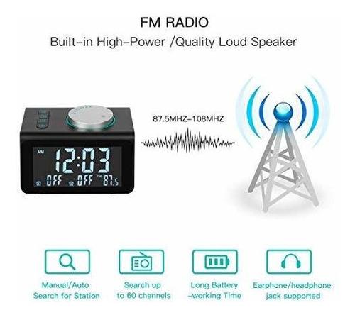 radio reloj despertador anjank radio fm, puertos carga usb