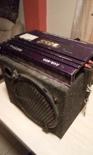 radio reproductor con pantalla motorizada, planta y cornetas