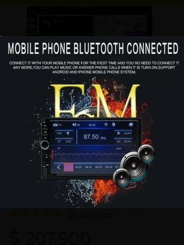 radio reproductor touch mirror bluetooth control + cámara