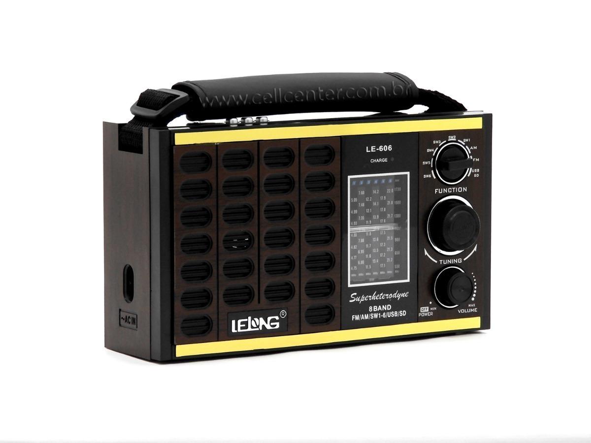 63929f0d1 Rádio Retrô Vintage Am Fm Usb Sd Mp3 Recarregável Le-606 - R  85