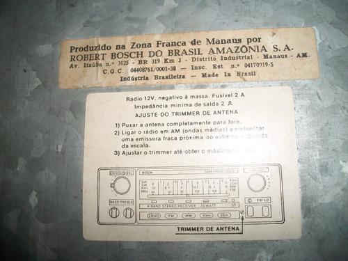rádio san francisco - bosch - antigo anos 80 - funcionando