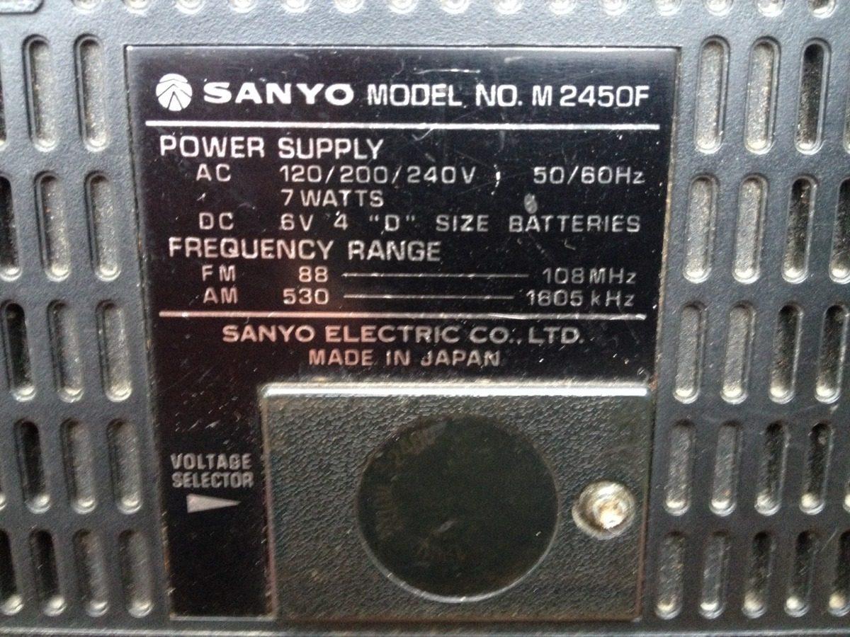 Radio Sanyo, Vintage, No Funciona, Modelo M2450f - $ 320,00