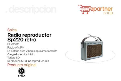radio spica sp220 retro am fm bluetooth usb bateria