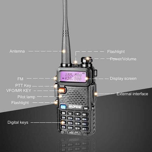 radio vhf portatil trasmisor baofeng vhf solo color negro