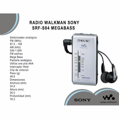radio walkman sony srf-s84 megabass audífonos 100% original
