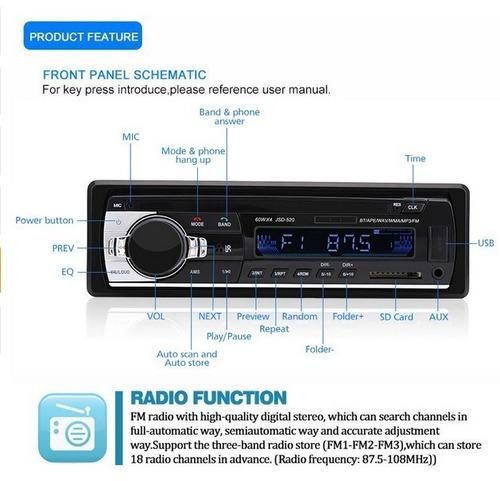 radios carro sonido usb mp3 sd fm aux + mando bluetooth w01