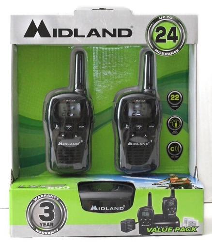 radios midland lxt500 vp3 24 millas - con cargador y pilas
